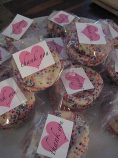 Dessert table.....Party Favors for Sprinkle Shower - publix bakery cookies - YUMM!!!                                                                                                                                                      More