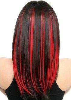 hair i want hair streaks, hair styles και red hair Red Hair Streaks, Black Hair With Red Highlights, Dark Red Hair, Red Hair Color, Hair Highlights, Color Red, Bright Red Highlights, Highlights Underneath, Caramel Highlights