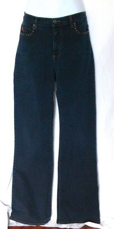 """NYDJ Not Your Daughters Jeans Tummy Tuck Rhinestone Jeans Size 10 Inseam 31"""" #NYDJ #BootCut"""
