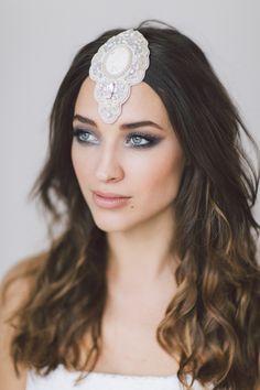 Veritas Headpiece by Maria Kosheleva for OffwhiteStudio.  Wedding Headband, Bridal Headband, Wedding Accessories, Bridal Headpiece by OffwhiteStudio on Etsy
