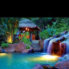 Tropical pool with Bali hut
