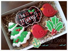 Be Merry decorated cookies by Coastal Cookie Shoppe Cookies Box, Galletas Cookies, Fancy Cookies, Cut Out Cookies, Cute Cookies, Cupcake Cookies, Royal Icing Cookies, Christmas Cookies Gift, Merry Christmas