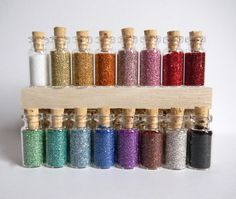 German Glass Glitter  Your Choice 4 Small Bottles by ginderellas, $7.00