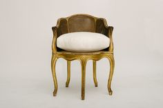 19TH CENTURY GILDED LOUIS XV STYLE CANE BACK BERGERE