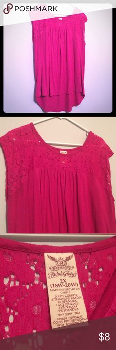 Lace Hi-Low Top Size 2X 18/20 Beautiful fuchsia pink color with floral lace detail at neckline. Hi-low hemline. Worn and washed once, just not my style anymore. Don't forget to bundle and save! Faded Glory Tops Blouses