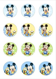 12 Cute Mickey Mouse Baby 50mm circle Edible Wafer Paper Cake Toppers: Amazon.co.uk: Kitchen & Home Festa Mickey Baby, Mickey Mouse Png, Theme Mickey, Mickey Mouse Birthday Cake, Baby Birthday Cakes, Baby Boy 1st Birthday, Mickey Party, Wafer Paper, Paper Cake