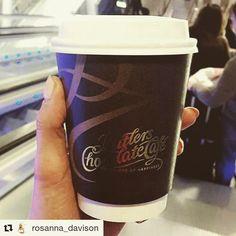 #Repost @rosanna_davison  Rosanna enjoying a coffee before her flight!  #ButlersChocolates