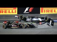 F1 2014 - Bahrein - Pastor Maldonado and Esteban Gutierrez crash