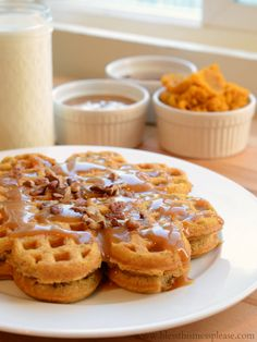 Pumpkin Caramel Spice Waffles with Caramel Maple Syrup - oh my! Christmas Breakfast?!
