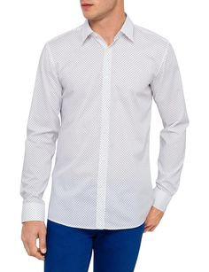 Long Sleeve Black Triangle Print Shirt   David Jones