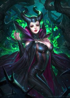 Disney Vilains fanart - Maleficent - The Sleeping Beauty Fantasy Girl, Chica Fantasy, Fantasy Images, Dark Fantasy Art, Fantasy Warrior, Fantasy Women, Disney Pixar, Disney Villains, Disney And Dreamworks