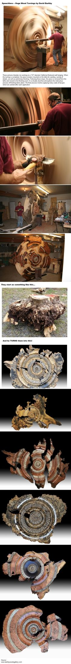 Speechless ..Huge Wood Turnings by David Barkby! Visit http://www.handymantips.org/category/woodworking/ for more woodworking tips!