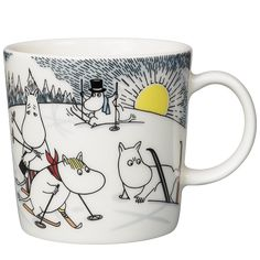 Skiing with Mr. Brisk Moomin Mug 2014 from Arabia by Tove Jansson, Tove Slotte Moomin Shop, Moomin Mugs, Moomin Valley, Tove Jansson, Christmas 2014, Cute Characters, Mugs Set, Finland, Scandinavian Design