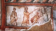 Moses making the water run from the rock in a fourth-century fresco in the Catacomb of St. Callixtus