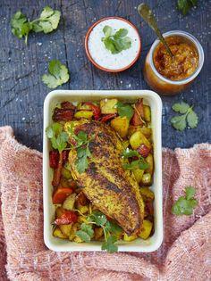 Roasted chicken breast with lemony Bombay potatoes