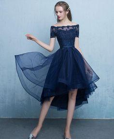 Dark blue lace tulle short prom dress, high low evening dress #shortpromdresses