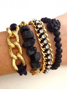 Black and gold wrist party set #jewelryinspiration #cousincorp