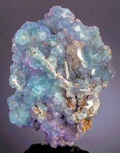 Bluish-green and lavender Fluorite cubes with Barite. Komshejeh Mine, Komshejeh, Ardestan County, Esfahan Province, Iran