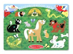 Neighborhood Pets Peg Puzzle - 6 Pieces : Children will love spending time with these beloved neighborhood pets as they place each wooden puzzle piece over the matching picture on the puzzle board This sturdy 6 piece puzzle features easy grasp pegs and so Wooden Pegs, Wooden Puzzles, Jigsaw Puzzles, Articles En Bois, Puzzles For Toddlers, Developmental Toys, Melissa & Doug, Bath Toys, Puzzle Pieces