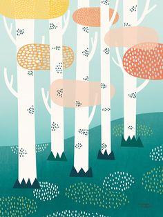 Michelle Carlslund Illustration Forest Print Poster, x Fuchs Illustration, Forest Illustration, Children's Book Illustration, Digital Illustration, Watercolor Illustration, Wallpaper Paisajes, Illustrator, Illustration Inspiration, Bg Design