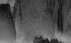 ARTIFICIAL WONDERLAND II, TRAVELERS AMONG MOUNTAINS AND STEAMS (detail 2), Yang Yongliang - 2014