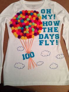 Project for 100 school days – Basic Game Day Shirts 100th Day Of School Crafts, 100 Day Of School Project, First Day Of School, School Fun, School Days, School Projects, 100 Day School Shirt, School Stuff, Kindergarten Shirts