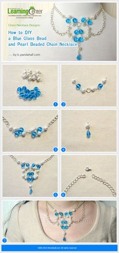 Blue Glass Bead and Pearl Beaded Chain Necklace