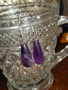 Genuine Amethyst Dangle Earrings - Amethyst Tear Drop Earrings - Purple Gemstone Earrings - Metaphysical Crystals - Free Shipping
