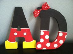 Disney Inspired Letter Art - cute accents for Mickey bathroom for kids? I could help make these. K & J maybe?