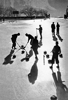 Curling at St. Moritz, The game that has been likened to chess on ice was invented in medieval Scotland and is now an Olympic sport. The women's and men's semi-finals at Sochi 2014 are taking place today. Olympic Curling, Shadow Film, Detective Movies, Anno Domini, Shadow Silhouette, Vintage Ski, Swiss Alps, Winter Sports, Sports
