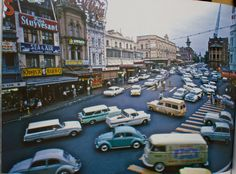 Rare view of the old intersection of darlinghurst and williams st kings cross late 50s