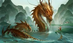 The river dragon, awesome art by sandara Making of. clic to see how the dragon has been drawn [sandara] Fantasy Artwork, Fantasy Paintings, Mermaid Paintings, Digital Paintings, Art Paintings, Dragon Images, Dragon Pictures, Water Dragon, Sea Dragon