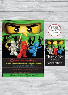 Ninjago party Birthday invitation + Free Thank you card- Printable