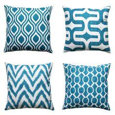 Cojines decorativos, funda de almohada color turquesa oscuro de Aquarius, todos tamaños, almohada con cremallera, funda de almohada, cojines Teal, almohadas del sofá azul