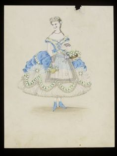1860s design for a fancy-dress costume, probably for the House of Worth. Theme is not clear, but it's pretty! V&A.