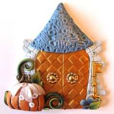Storybook Series Fairy Door Pixie Portal Cinderella by Claybykim, Halloween Fairy, Halloween House, Clay Houses, Miniature Houses, Castle Doors, Door Crafts, Polymer Clay Fairy, Clay Fairies, Witch Craft