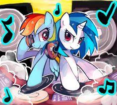 Dj pon3 and rainbow dash