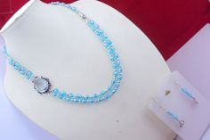 free shipping f-106 stunning Blue topaz .925 silver beaded necklace by SILVERHUT on Etsy