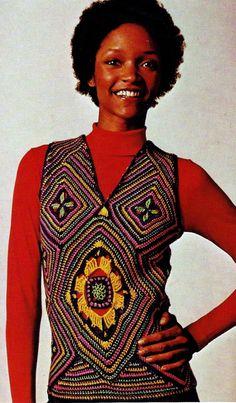 PDF Vintage Crochet Pattern For Women - Mosaic Crochet Vest - Granny Square Modular Top - Retro Boho Crochet Pattern Vintage Knitting, Vintage Crochet, Boho Crochet Patterns, Crochet Ideas, Crochet Cord, Crochet Granny, Motif Vintage, Vintage Patterns, Fashion Fail
