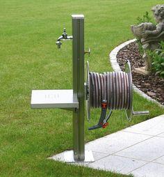 Garden Tap. Free Standing Stainless Steel Outdoor Tap, Platform & Hose Wheel