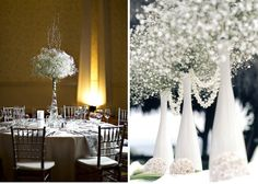 bunch of baby's breath in the DIY wine bottles = ccheap but elegant winter wedding centerpiece