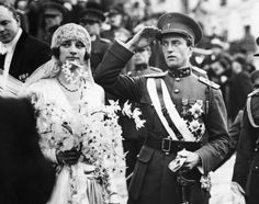Crown Prince Leopold and Crown Princess Astrid on their wedding day in 1926.