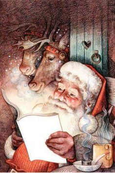 Santa and friends by Anne Yvonne Gilbert, Children's book illustrator Christmas Scenes, Father Christmas, Vintage Christmas Cards, Santa Christmas, Christmas Pictures, Winter Christmas, Magical Christmas, Illustration Noel, Christmas Illustration