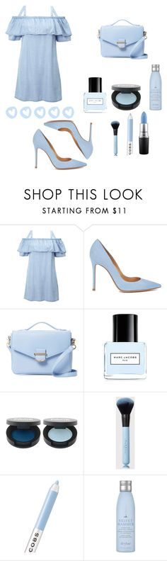 """BLUE STYLE"" by oliviacamila ❤ liked on Polyvore featuring Miss Selfridge, Gianvito Rossi, Cynthia Rowley, Marc Jacobs, Drybar and MAC Cosmetics"