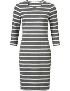 Purdey gestreepte jurk grijs