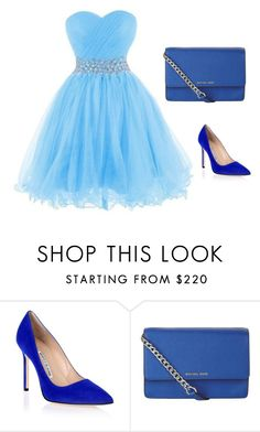 """bleu"" by ayaagharni20 ❤ liked on Polyvore featuring Manolo Blahnik and MICHAEL Michael Kors"