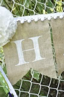 DIY- How To Paint on Burlap~ also...both a burlap & paper banners tutorial} | Little Birdie Secrets