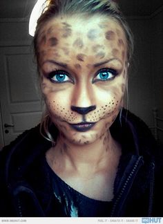 Cute Leopard Makeup/mask for Halloween! im gonna do this !