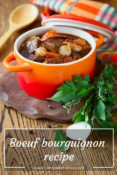 A hearty dish for dinner, boeuf bourguignon is a traditional beef stew from Burgundy made with Charolais beef and Burgundy red wine. Make it yourself with this simple recipe The Chew Recipes, Easy Soup Recipes, Sauce Recipes, Easy Dinner Recipes, Dinner Ideas, Meal Recipes, Yummy Recipes, Chicken Recipes, Winter Stew Recipe