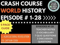 World History Crash Course Cold War Ep. Includes teacher notes, vocabulary, quiz and more! Secondary Resources, Secondary Teacher, Social Studies Resources, History Lesson Plans, World History Lessons, History Class, History Channel, Crash Course World History, Agricultural Revolution
